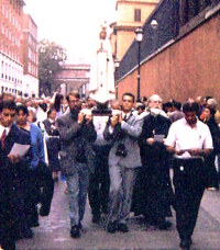 Photo of Our Lady of Fatima in a procession