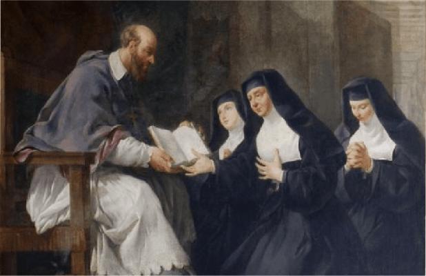 St. Francis de Sales presenting a book to three nuns