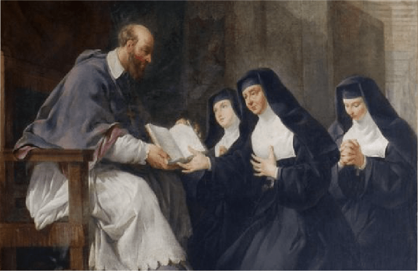 St. Francis de Sales presenting a book to three nuns