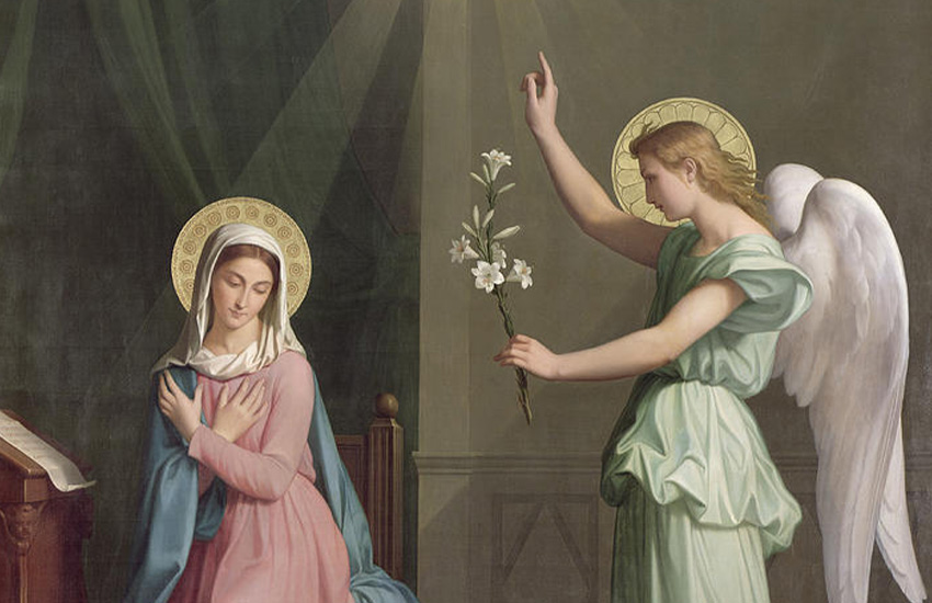 Angel Gabriel announcing to Our Lady of God's great gift to her.