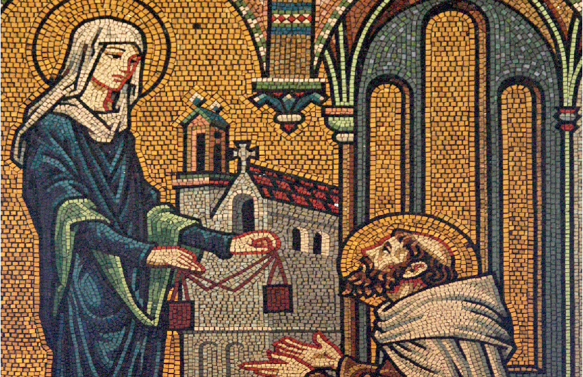 Our Lady giving St. Simon Stock the brown scapular