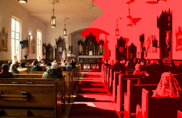 Inside of a church photo, with half of it in red
