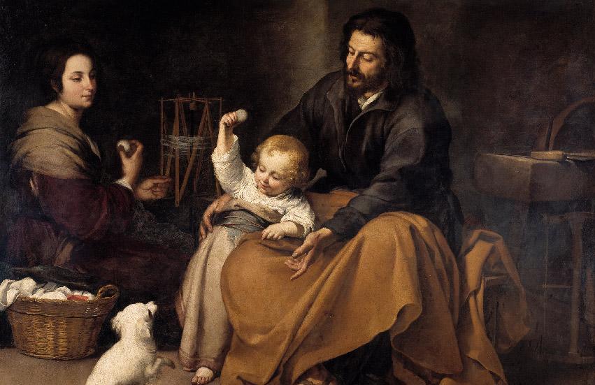 """Bartolomé Esteban Murillo """"The Holy Family with a Little Bird"""" (modified) c.1650"""