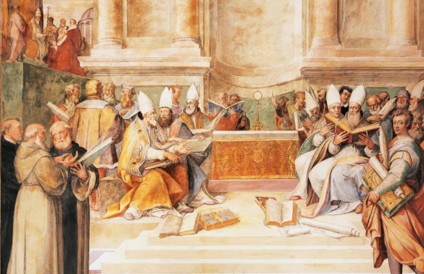 council-of-trent-fresco-by-brothers-taddeo-and-federico-zuccari-in-hall-of-farnesina-magnificience-of-palazzo-farnese-caprarola-italy