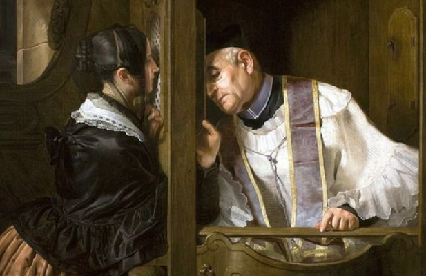 Woman in confession