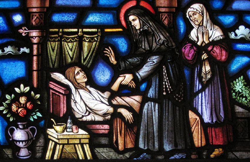 St. Frances Cabrini helping the sick stain glass