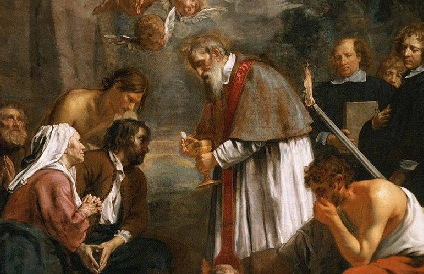 """""""Saint Macarius of Ghent Giving Aid to the Plague Victims"""" by Jacob van Oost the Younger"""