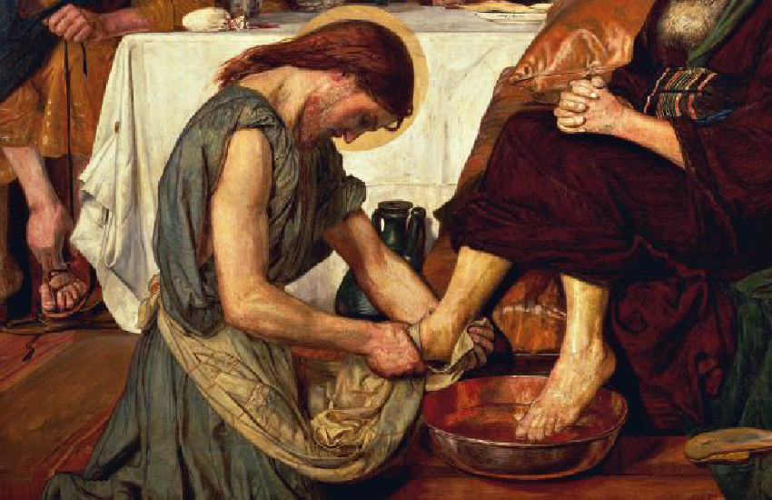 "Meditation for the month of February: Humility. Image: ""Christ washing Peter's feet,"" by Ford Madox Brown (1821-1893). (DeAgostini Picture Library / Getty Images)"