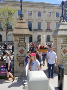 The Statue of Our Lady of Fatima is being carried in the streets of Ottawa during the March For Life